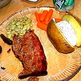 photo of a plate of meatloaf, potatoe and lima beans all good sources of amino acid lysine