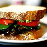 photo of a sandwich with dulse, tomato and lettice on wheat bread dulse is a natural food source of selenium